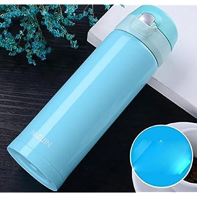 Une bouteille vide en acier inoxydable 500ml bouteille sport en plein air bouteille thermos double en acier inoxydable rose / bleu / noir