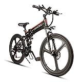 Samebike Folding Mountain Bike for Adult 48V 10AH Electric Mountain Bicycle and 21 Speed Electric Mountain Bike Off Road (Magnesium Alloy Rim, 350W) (Black)