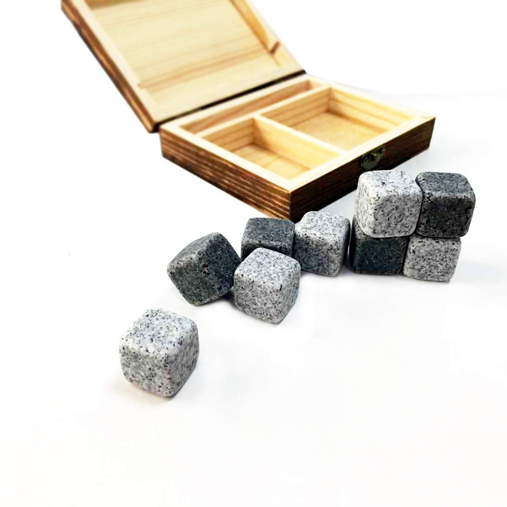 Goaeos Whisky Stones Gift Set of 9 Natural Soapstone and Granite Chilling Rocks with Stylish Wooden Box and Free Velvet Pouch