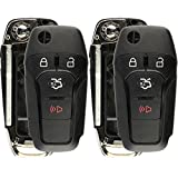 KeylessOption Keyless Entry Remote Flip Key Fob Shell Case Button Pad Cover For Ford Fusion N5F-A08TAA (Pack of 2)