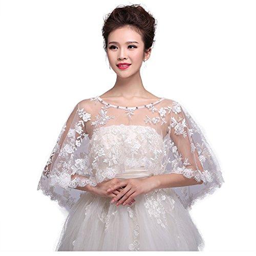 Bridal Embroidered Lace Appliques Shrug Wedding Shawl Wrap Stole Bolero Jacket Coat (Model-02) ()