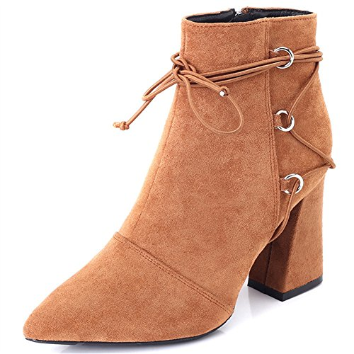 Damen Blockabsatz Stiefe - Veloursleder-Optik Zipper Ankle Boots mit Fleece Gefüttert Winter Warm Mode Einfarbig Stiefel Schuhe braun 2