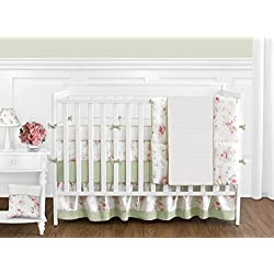 Sweet Jojo Designs Riley's Roses Pink and Sage Green Shabby Chic Floral Baby Girl Flower Bedding 9 piece Crib Set
