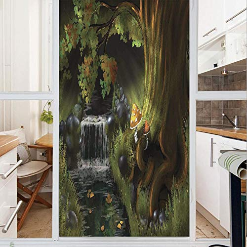 - Decorative Window Film,No Glue Frosted Privacy Film,Stained Glass Door Film,Imaginary Waterfall in The Forest at Night Mushroom Dark Secret Nature Print,for Home & Office,23.6In. by 78.7In Green Grey