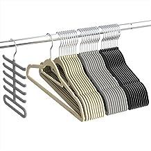 Velvet Hangers, Ultra Thin Space Saving Pants Hangers Non Slip Heavy Duty, 360 Degree Swivel Hook - 30 Pack - Black, Beige, Grey Including a Tie Organizer - Sable