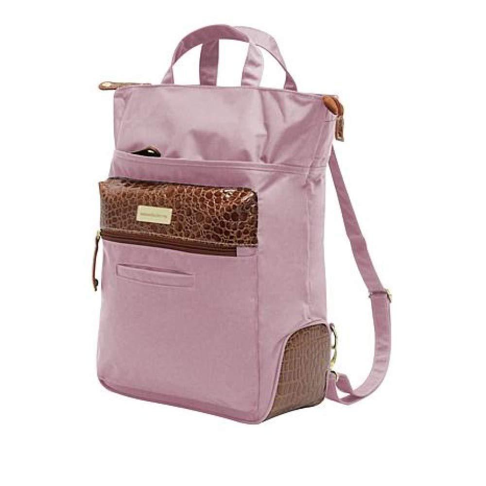 Samantha Brown Convertible Backpack Tote Bag Rose//Brown Trim