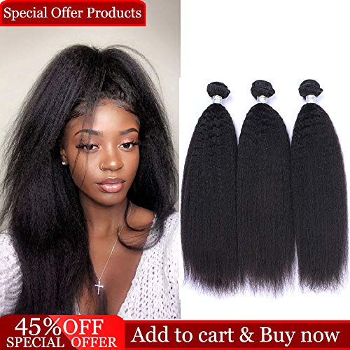 - Dingfeng Hair 8A Brazilian Kinky Straight Human Hair Weave Bundles Wholesale Price Of Factory 100% Unprocessed Virgin Hair Yaki Remy Hair Extensions Big Sale Natural Black Color (141618)