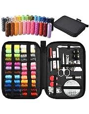 TUXWANG Kit de Couture avec Accessoires de Couture Premium 90pcs avec étui de Transport, 24 bobines de Fil - 1 Paquet d'aiguilles de Couture (Compteur 30) Kit de Couture Pratique p
