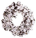 Farmhouse Style Large Full Cotton Boll Wreath, 28 Inches