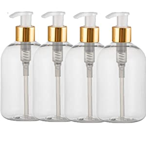 12 oz Empty Pump Bottles, Plastic Clear Bottle, Refillable Containers with Dispenser for Shampoo Wash Lotion Liquid Soap, 4 Pack