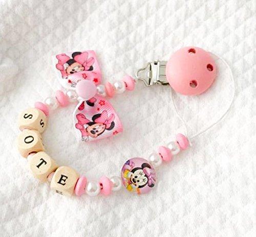 Cadena puerta chupete rosa Minnie disney | nombre adaptable ...