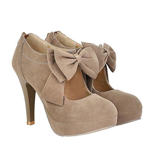 Zicac Women's High Heel Platform Faux Suede Zipper Round Toe Bowknot Pumps Shoes (7.5, Beige) (Toe Round Medium Pump Heel)
