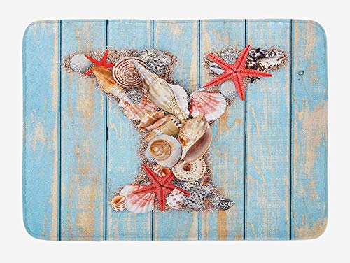 (Letter Y Bath Mat, Aquatic Typography with Y Blue Vertical Planks Starfishes Scallops, Plush Bathroom Decor Mat with Non Slip Backing, Pale Blue Ivory Dark Coral,20X31 inch)