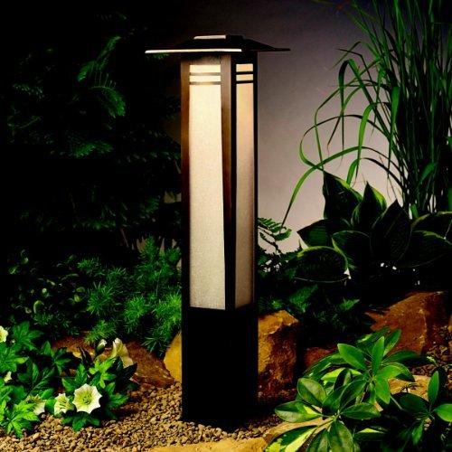 (KICHLER 15392OZ Zen Garden Bollard 1LT Incandescent/LED Hybrid Low Voltage Landscape Path and Spread Light, Olde Bronze Finish with Textured Amber Seedy Linen Glass by Lighting)