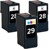 3 Pack 2inkjet© Remanufactured Lexmark 28 , 29 Ink Combo For Z845, Z1300, Z1310, Z1320, X2500, X2530, X2550, X5070, X5075, X5320, X5340, X5410, X5495 (2 x Black + 1 x Color)