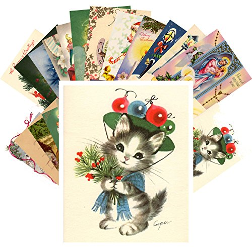 Vintage Christmas Greeting Cards 24pcs Christmas Wishes Santa Angels REPRINT Postcard Pack (Postcard Christmas Angel)
