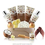 Relaxing Skin Care and Bath Gift Basket Set for Women with Vanilla and Coconut Fragrance - Mothers Day Birthday Holiday Gift Ideas for Her - 16 Pack at Home Spa Kit with Bath Bombs, Hair Drying Towels