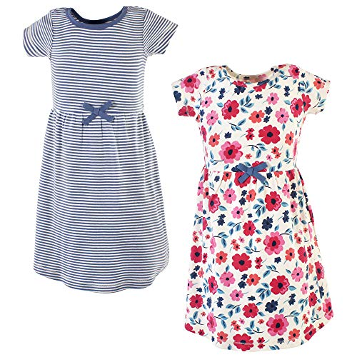 Girl Dresses Size 7 (Touched by Nature Baby Girl Organic Cotton Dresses, Garden Floral Youth Short Sleeve 2 Pack, 7)