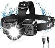 TEUMI Headlamp, 600 Lumen Zoomable LED Rechargeable Headlamp, 90° Pivoting, 4 Lighting Modes, Headlamps for Ad