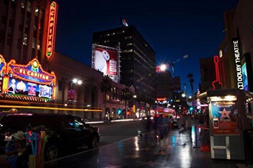 (Hollywood Boulevard at Night El Capitan Theatre Dolby Theatre Photo Art Print Mural Giant Poster 54x36 inch)