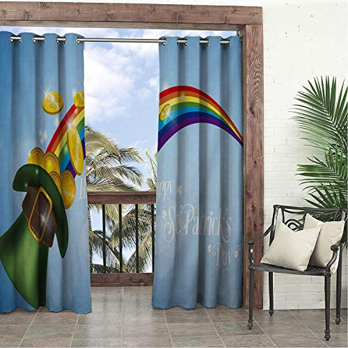 Linhomedecor Garden Waterproof Curtains Happy St. Patricks Day Ra Bow Hat Co s doorways Grommets Adjustable Curtains 72 by 108 inch