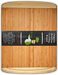 Investment #1 Best ORGANIC Bamboo Wood Cutting & Kitchen Chopping Board with Groove | EXTREMELY SPACIOUS, EXTRA LARGE, THICK... saleoff