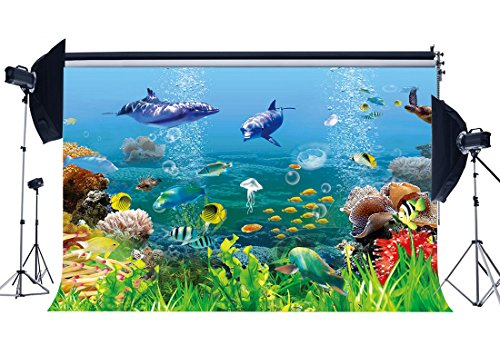 Gladbuy Vinyl 7X5FT Underwater World Backdrop 3D Aquarium Backdrops Fish Dolphin Turtle Under The Sea Photography Background for Boys Room Decoration Wallpaper Birthday Party Photo Studio Props KX379