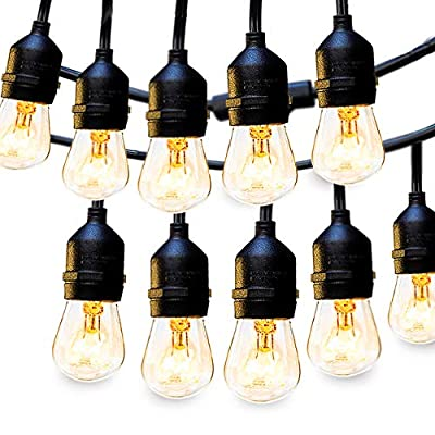 2 × 48 FT Outdoor String Lights Commercial Great Weatherproof Strand Dimmable Edison Vintage Bulbs 15 Hanging Sockets, UL Listed Heavy-Duty Decorative Café Patio Lights for Bistro Garden