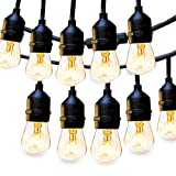 2 Pack Outdoor String Lights Commercial Great Weatherproof Strand - Dimmable Edison Vintage Bulbs 15 Hanging Sockets, UL Listed Heavy-Duty Decorative Patio Café Lights for Bistro Garden Wedding Malls