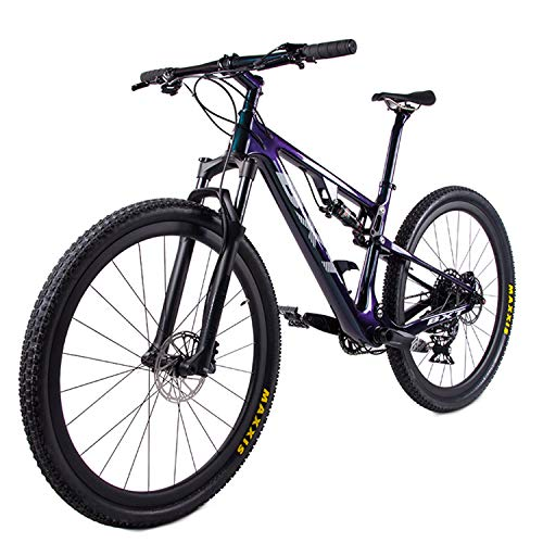 d14d1fb8b57 BXT Carbon Full Suspension Mountain Bike 29er 1×12 Speed XC Dual Suspension MTB  Bicycle Modle Bikes 077 Bicicletas (Chameleon Green, M)