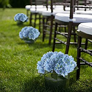 "NAHUAA 16.5"" Artificial Silk Hydrangea Flowers Arrangements Large Fake Floral Bundles Home Wedding Bouquet Table Centerpieces Party Decoration (Tiffany Blue) 3"
