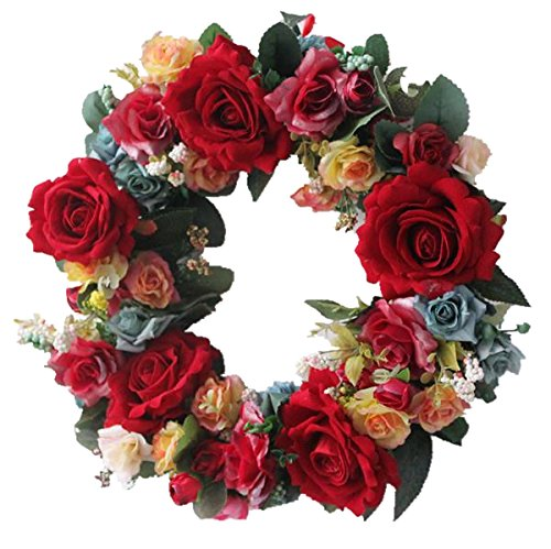 Large blooming Red rose wreath handmade home wall decor Vintage Style ()