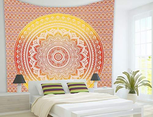 THE ART BOX Orange Wall Tapestry Boho Wall Tapestry Hippie Throw Blanket Beach Tapestry Colorful Tapestry Indian Wall Tapestries Twin 85x55 Indian Bedspread Wall Tapestry Mandala