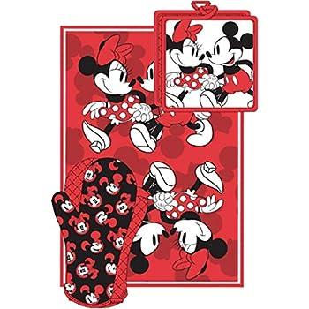 Amazon.com: Disney Mickey Minnie Stroll Red Kitchen Towel Set [3 ...