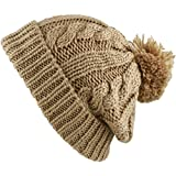 THE HAT DEPOT Winter Thick and Warm Pom Pom Fleece Lined Skully Knit Beanie Hat (Khaki)