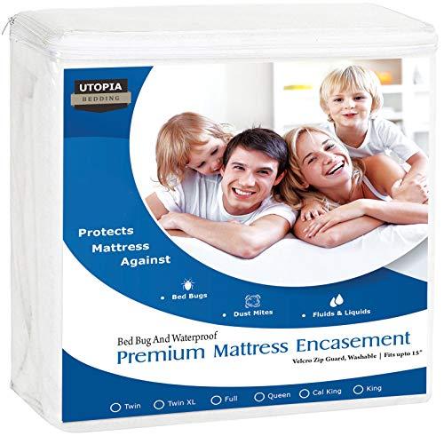 Utopia Bedding Premium Zippered Waterproof Mattress Encasement - Zipper Opening Mattress Protector (Queen) (Queen Box Spring Protector)