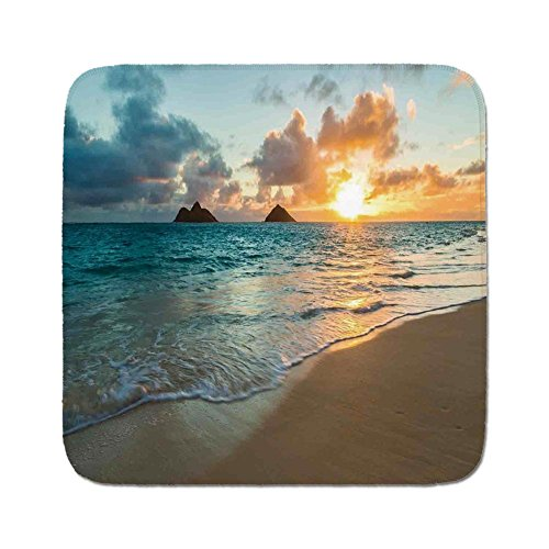 Cozy Seat Protector Pads Cushion Area Rug,Hawaiian,Scenic Sunrise Over Ocean Rocks Sand Clouds Sunshine Tide Sunbeam Seashore,Yellow Turquoise,Easy to Use on Any ()