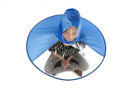 Hosaire 1 X Niños Portátil UFO Paraguas Gorro de Cabeza Piegante Elástica Cascos Sombrero Sol Lluvia