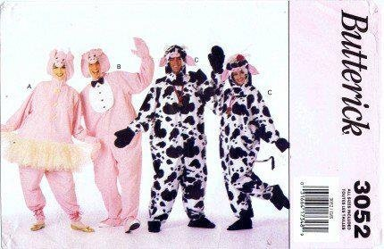 (Butterick Sewing Pattern 3052 ~ Adult Cow & Pig Costume ~ Sizes)