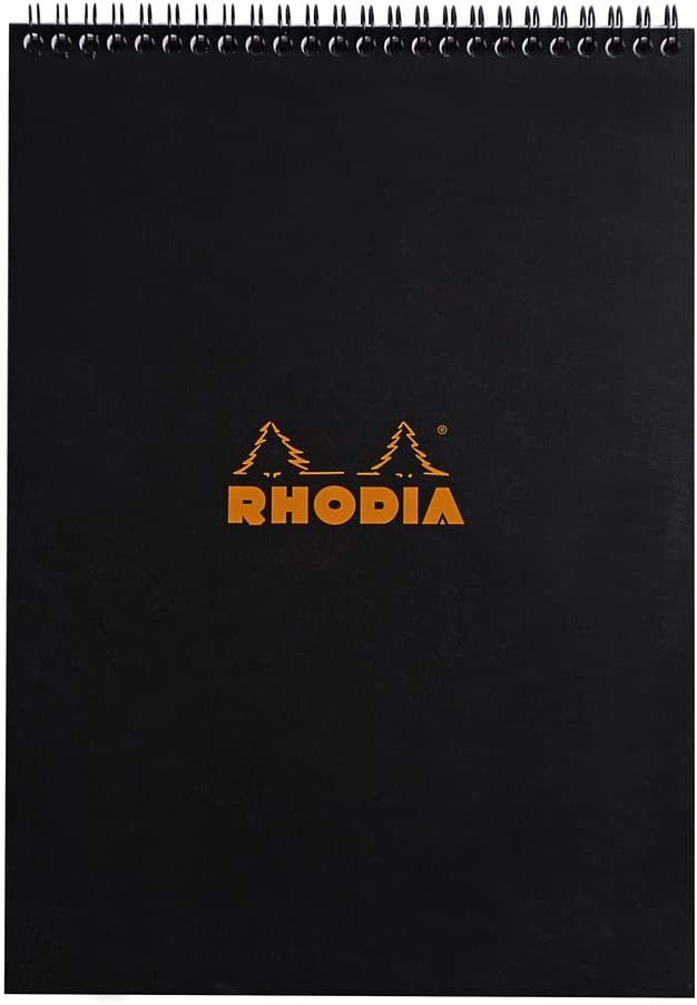 Rhodia Wirebound Notepad, A4, Lined - Black