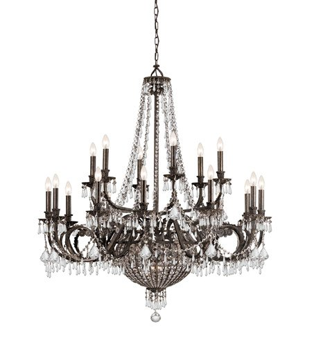 Chandeliers 12 Light With English Bronze Clear Hand Cut Crystal Wrought Iron 44 inch 480 Watts - World of Lighting
