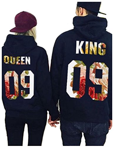dd207f4e19 Couple Hoodie, Fashion King and Queen Letter Printed Matching Pullover  Hooded Sweatshirt