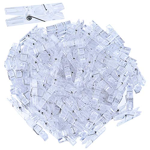 (Sunmns 120 Pieces Mini Transparent Plastic Clip Hanging Photo Clips (Clear))