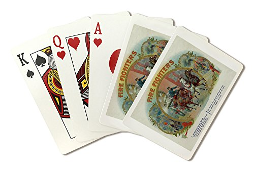 Firefighters Brand - Fireman with Horse-Drawn Engine Cigar - Vintage Label (Playing Card Deck - 52 Card Poker Size with Jokers)