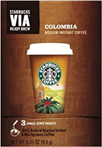 Starbucks VIA Ready Brew Coffee, Colombia Medium, 3- Count Packets (Pack of 6)
