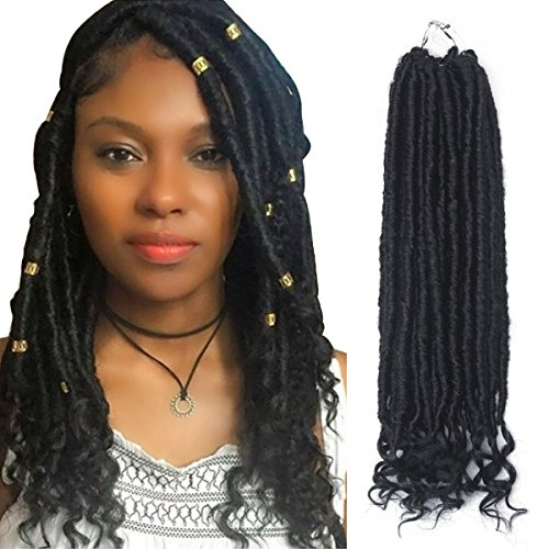 Beauty : Eerya 6 Packs Faux Locs Crochet Synthetic Hair Twist Braids with Curly Ends Goddess Locs Crochet Braiding Soft Hair Extension (6Packs/lot, 1B Natural Black)