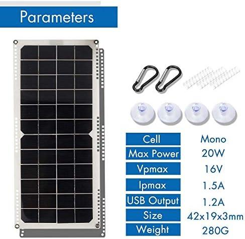 Xigeapg Pannello Solare 20W 12V Semi-Flessibile Monocristallino Un Celle Solari Modulo DIY Connettore Esterno Caricabatterie