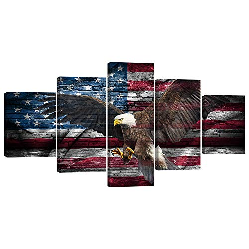 Retro USA US American Flag Bald Eagle Military Canvas Prints Wall Art Vintage Thin Blue Line Home Decor Pictures for Living Room 5 Panel Large Poster Painting Framed Ready to Hang (50