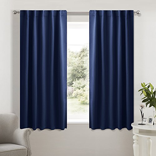 NICETOWN Bedroom Draperies Blackout Curtain Panels - (Navy Blue Color) 42 x 45 Inches, Set of 2 Panels, Solid Modern Design Thermal Insulated Room Darkening Blackout Drapes for Girls/Kids (Blue Pleated Drapes)