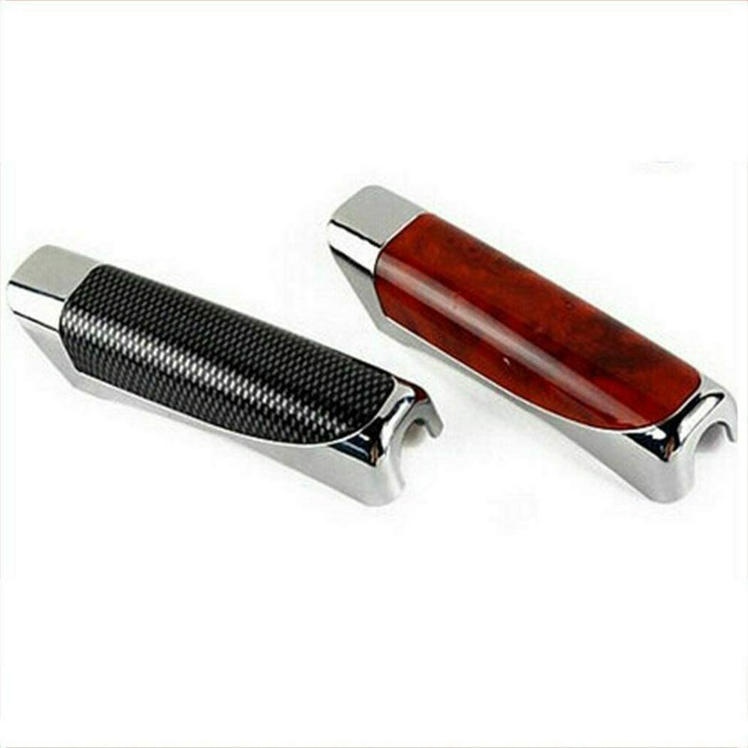 Red//Black Auto Car Handbrake Cover Break Protector Decoration Cover Wooden and Carbon Fiber Style